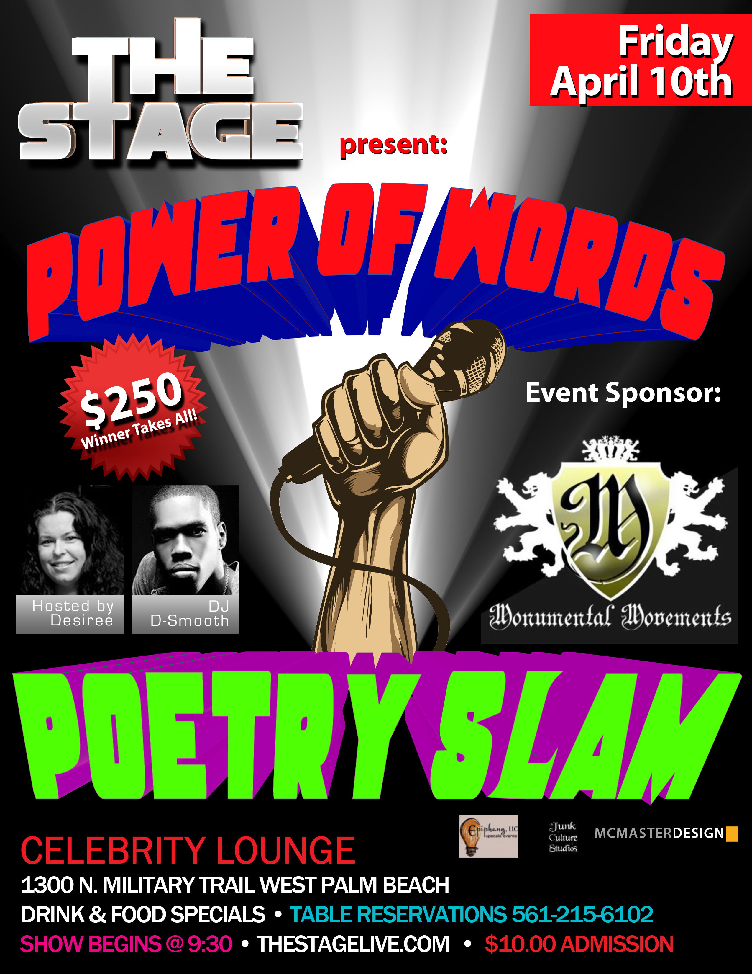 THE STAGE Presents...ANNUAL POWER OF WORDS POETRY SLAM